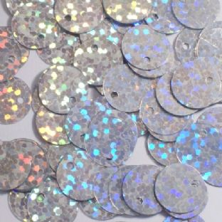 10mm Hologram Silver Flat Round Sequins x 20g